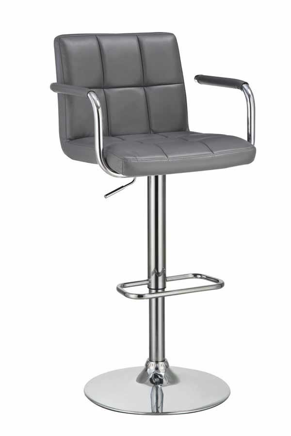 REC ROOM/BAR STOOLS: HEIGHT ADJUSTABLE - Contemporary Grey and Chrome Adjustable Bar Stool with Arms