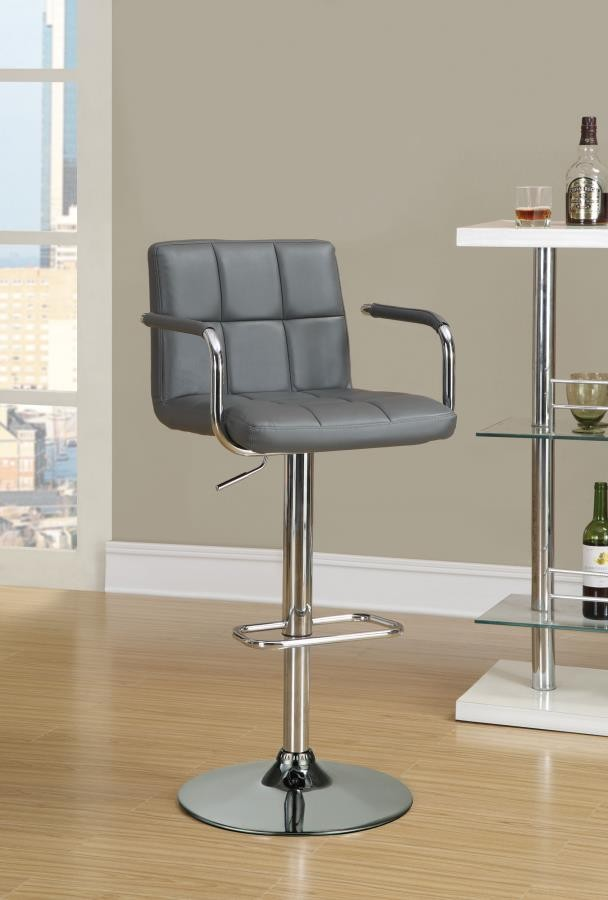 Superb Rec Room Bar Stools Height Adjustable Contemporary Grey And Chrome Adjustable Bar Stool With Arms Ibusinesslaw Wood Chair Design Ideas Ibusinesslaworg