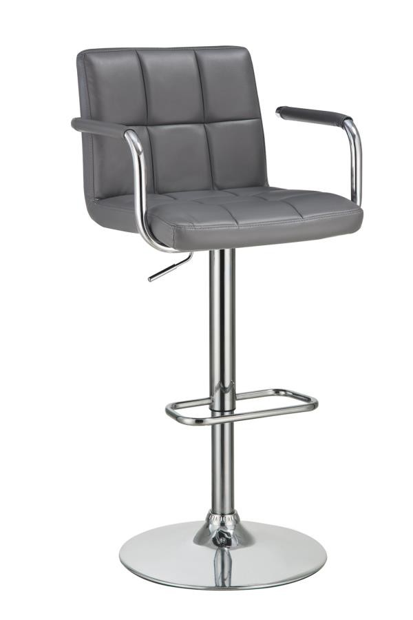 Miraculous Rec Room Bar Stools Height Adjustable Contemporary Grey And Chrome Adjustable Bar Stool With Arms Ibusinesslaw Wood Chair Design Ideas Ibusinesslaworg