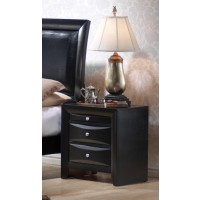BRIANA COLLECTION - Briana Black Two-Drawer Nightstand With Tray