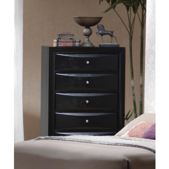 BRIANA COLLECTION - Briana Black Five-Drawer Chest