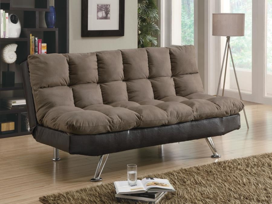 LIVING ROOM : SOFA BEDS - Casual Overstuffed Brown Sofa Bed