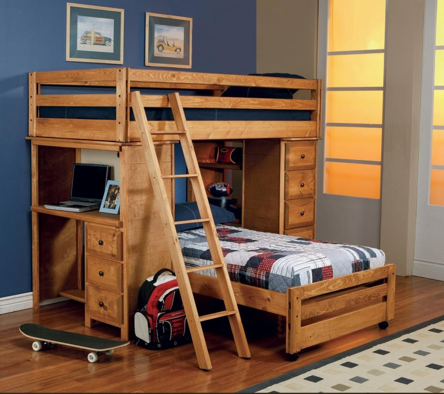 Wrangle Hill Collection Wrangle Hill Twin Over Full Loft Bed With Desk 460141 Bunk Beds Durango Furniture Co