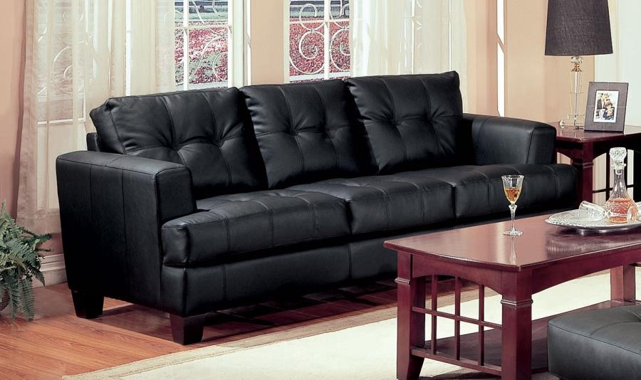 SAMUEL COLLECTION - Samuel Transitional Black Sofa