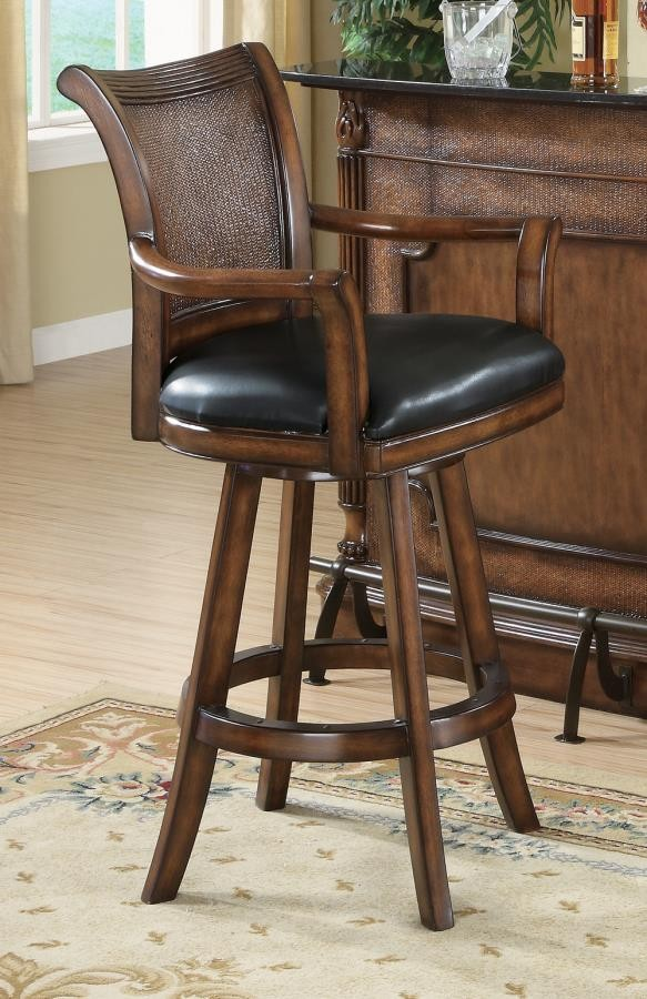BAR UNITS: TRADITIONAL/TRANSITIONAL - Traditional Ornate Brown Bar Stool