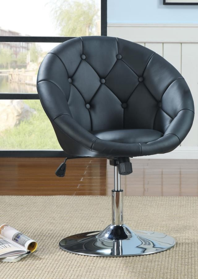 ACCENTS : CHAIRS - Contemporary Black Faux Leather Swivel Accent Chair