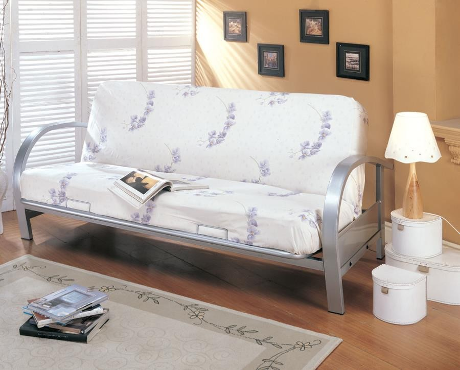 LIVING ROOM : FUTON FRAMES - Transitional Silver Futon Frame