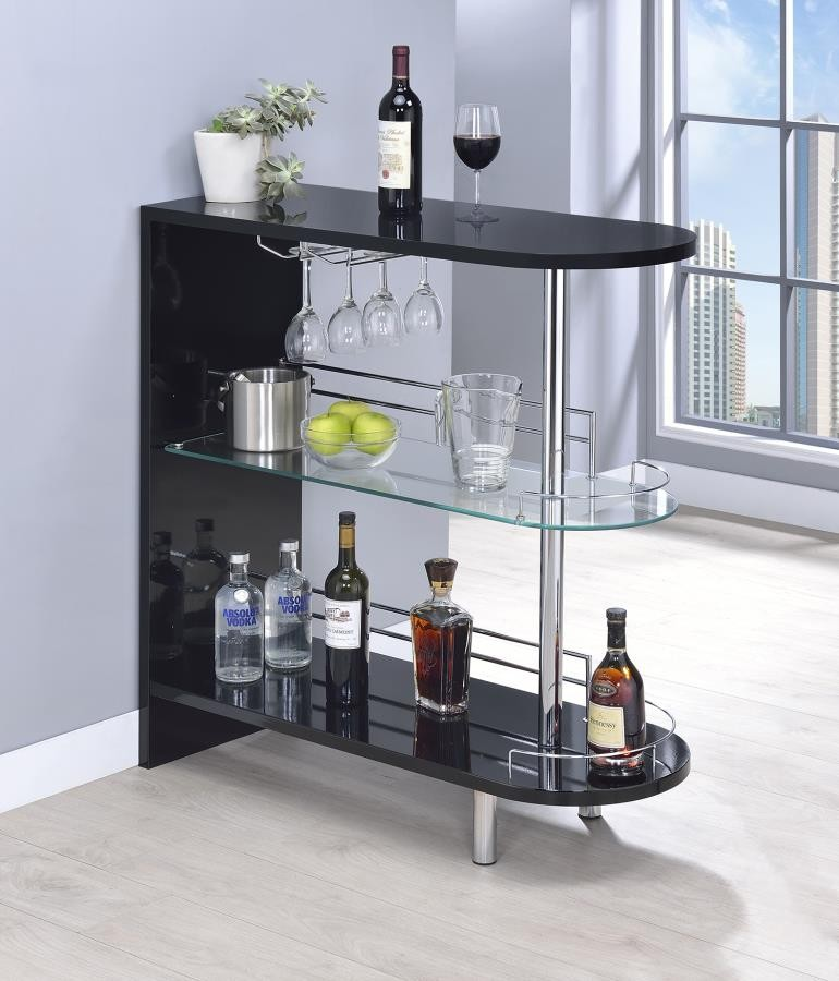 BAR UNITS: CONTEMPORARY - Contemporary Glossy Black Bar Table