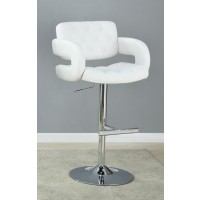 REC ROOM/BAR STOOLS: HEIGHT ADJUSTABLE - Contemporary White and Chrome Bar Stool