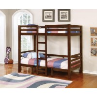 JOAQUIN COLLECTION - Joaquin Transitional Medium Brown Twin-over-Twin Bunk Bed