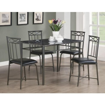 DINING: PACKAGED SETS: METAL - Casual Black Metal Five-Piece Dining Set
