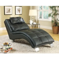 ACCENTS : CHAISES - Contemporary Black Faux Leather Chaise