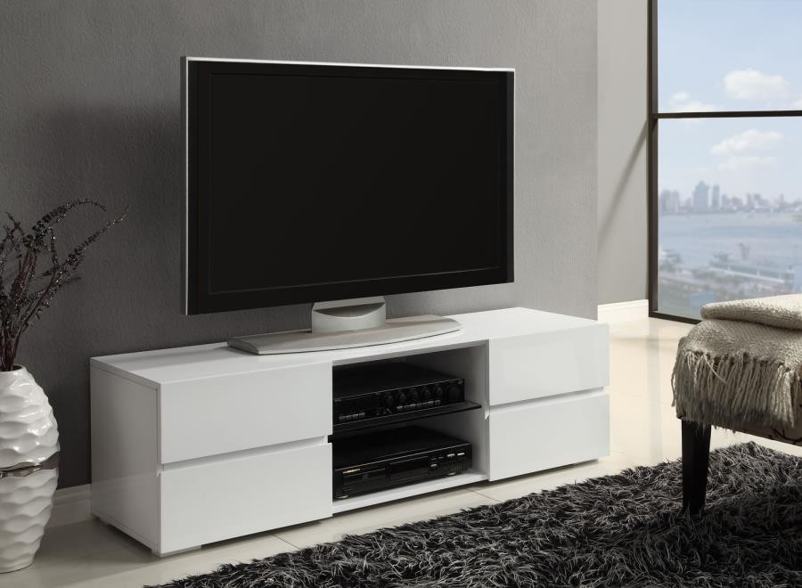 Living Room Tv Consoles Contemporary Glossy White Tv Console 700825 Tv Stands And Media Centers Midtown Outlet Home Furnishings
