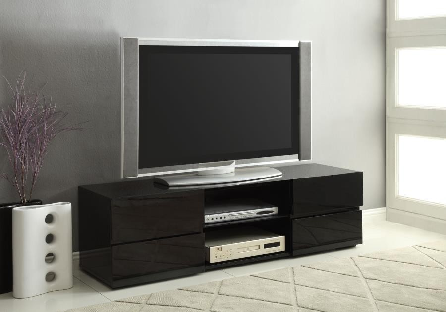 Tv Tables Big Tv Stand: Contemporary Glossy Black TV