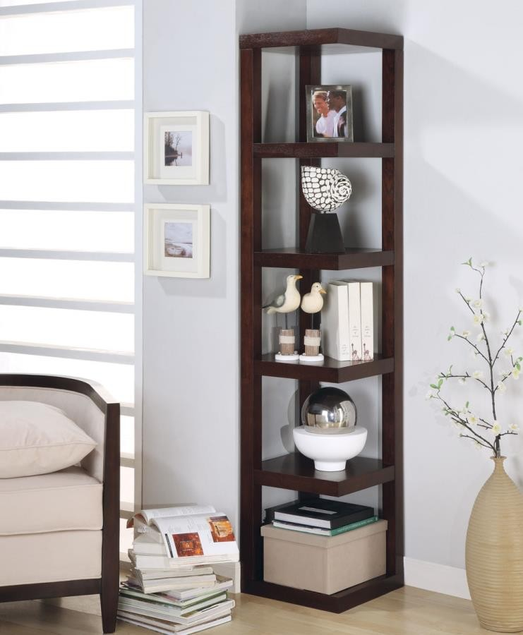 HOME OFFICE : BOOKCASES - Transitional Cappuccino Bookcase
