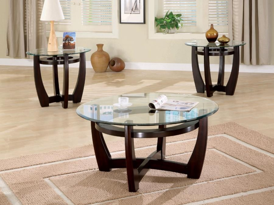 LIVING ROOM : OCCASIONAL SETS - Contemporary Cappuccino Three-Piece Round Table Set