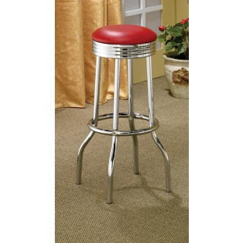 REC ROOM/ BAR TABLES: CHROME/GLASS - Cleveland Contemporary Red Bar-Height Stool (Pack of 2)