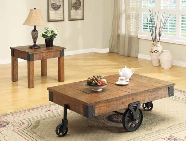 LIVING ROOM : INDUSTRIAL/RUSTIC OCCASIONAL TABLES - Country Distressed  Rustic Brown End Table