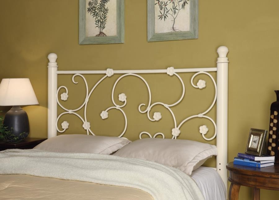 METAL HEADBOARD - Traditional Floral White Queen/Full Headboard