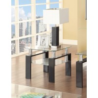 LIVING ROOM: GLASS TOP OCCASIONAL TABLES - Occasional Contemporary Black End Table