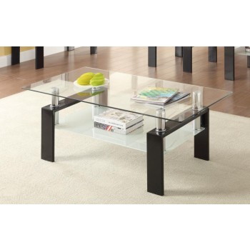 LIVING ROOM: GLASS TOP OCCASIONAL TABLES - COFFEE TABLE