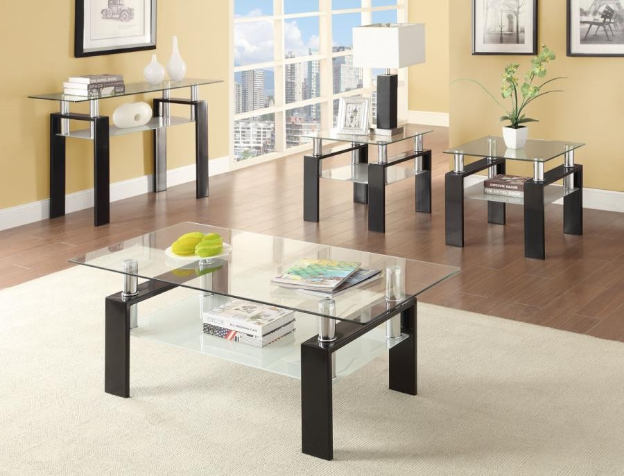 LIVING ROOM: GLASS TOP OCCASIONAL TABLES - Occasional Contemporary Black  Coffee Table