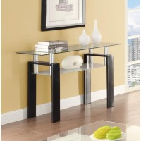 LIVING ROOM: GLASS TOP OCCASIONAL TABLES - Occasional Contemporary Black Sofa Table