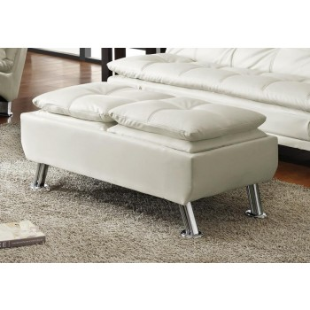 DILLESTON COLLECTION - Dilleston Contemporary White Ottoman