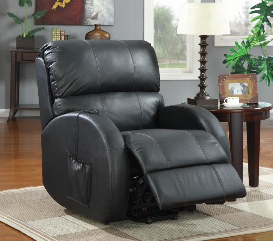 LIVING ROOM : POWER LIFT RECLINER - Casual Black Power Lift Recliner