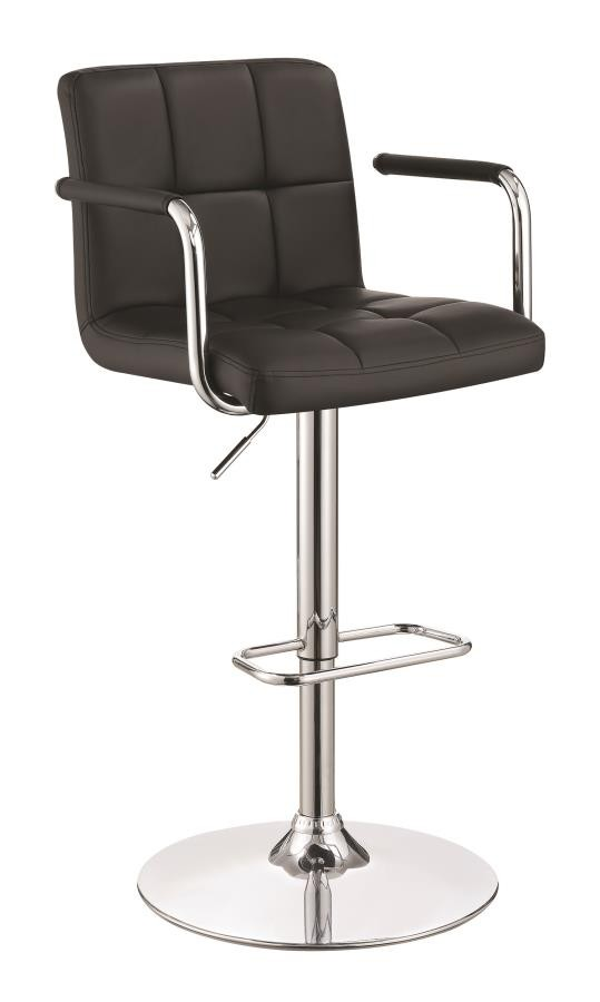 REC ROOM/BAR STOOLS: HEIGHT ADJUSTABLE - Contemporary Black and Chrome Adjustable Bar Stool with Arms