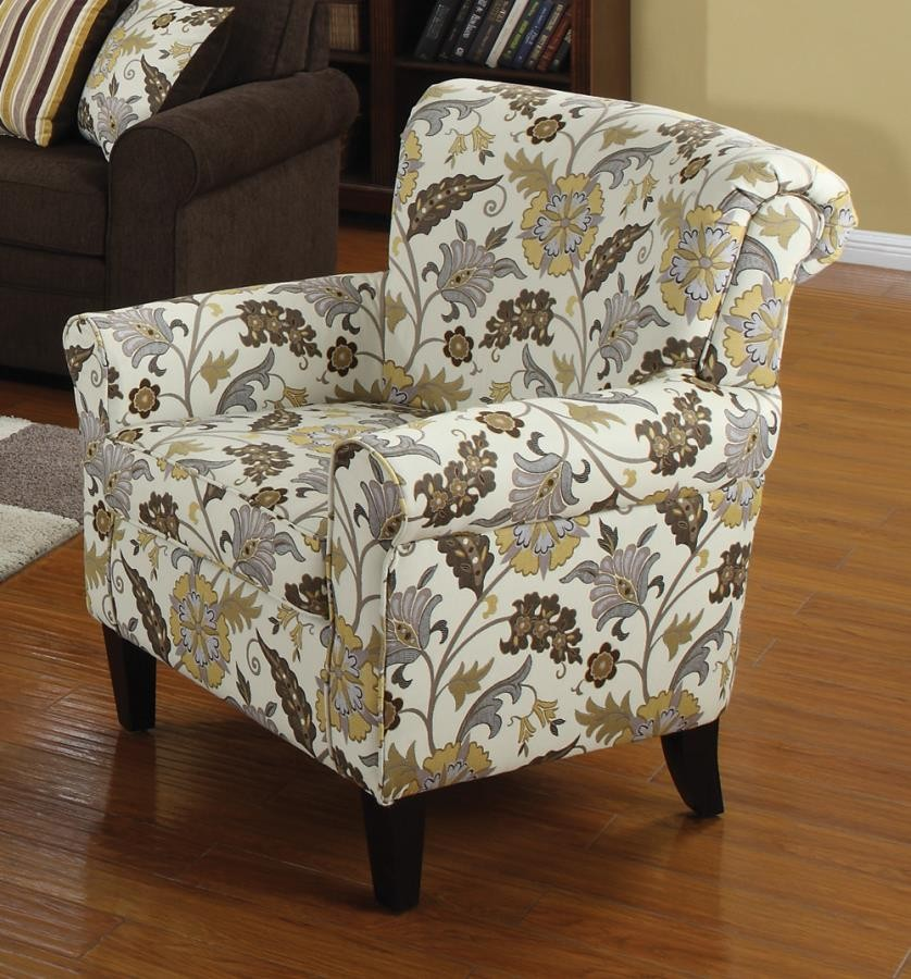 ACCENTS : CHAIRS - Casual Cream and Floral Accent Chair