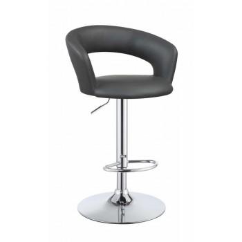 REC ROOM/BAR STOOLS: HEIGHT ADJUSTABLE - Contemporary Chrome and Grey Bar Stool