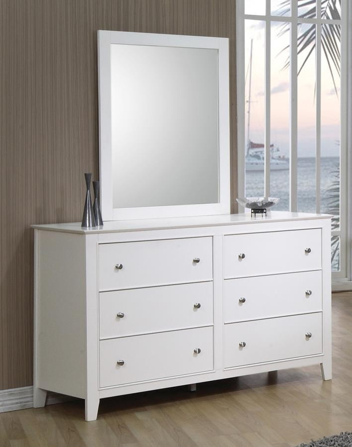Selena Collection - Selena Contemporary White Mirror