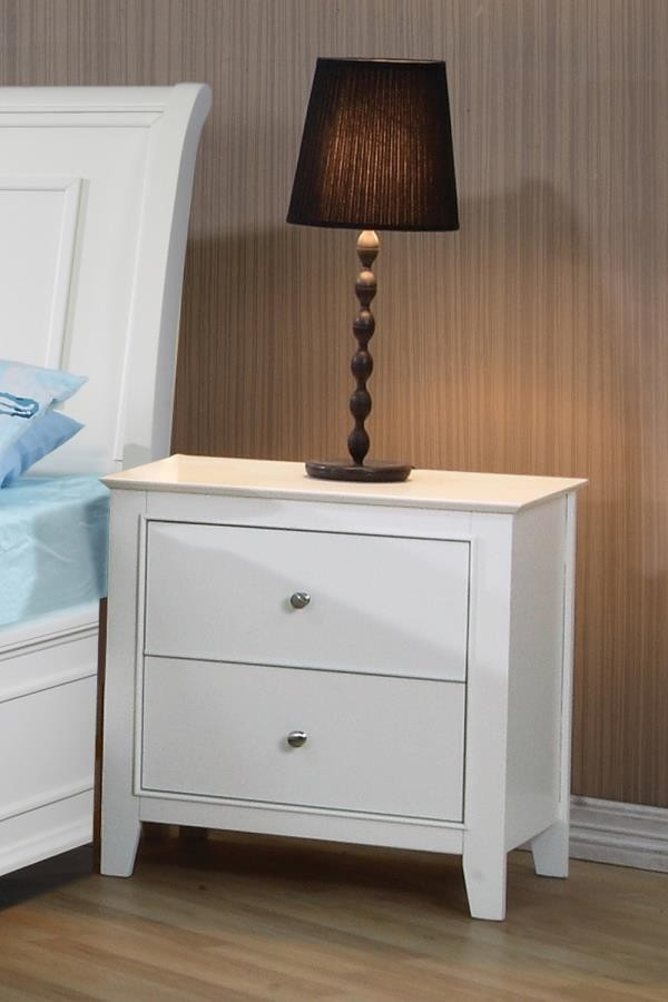 Selena Collection - Selena Contemporary White Two-Drawer Nightstand