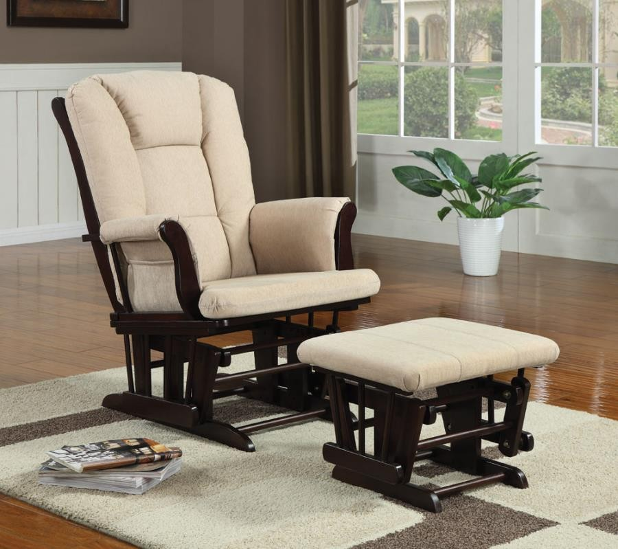 LIVING ROOM : GLIDERS - Traditional Beige Rocking Glider with Matching Ottoman