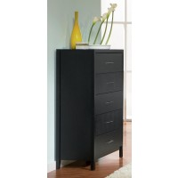 GROVE COLLECTION - Grove Black Five-Drawer Chest
