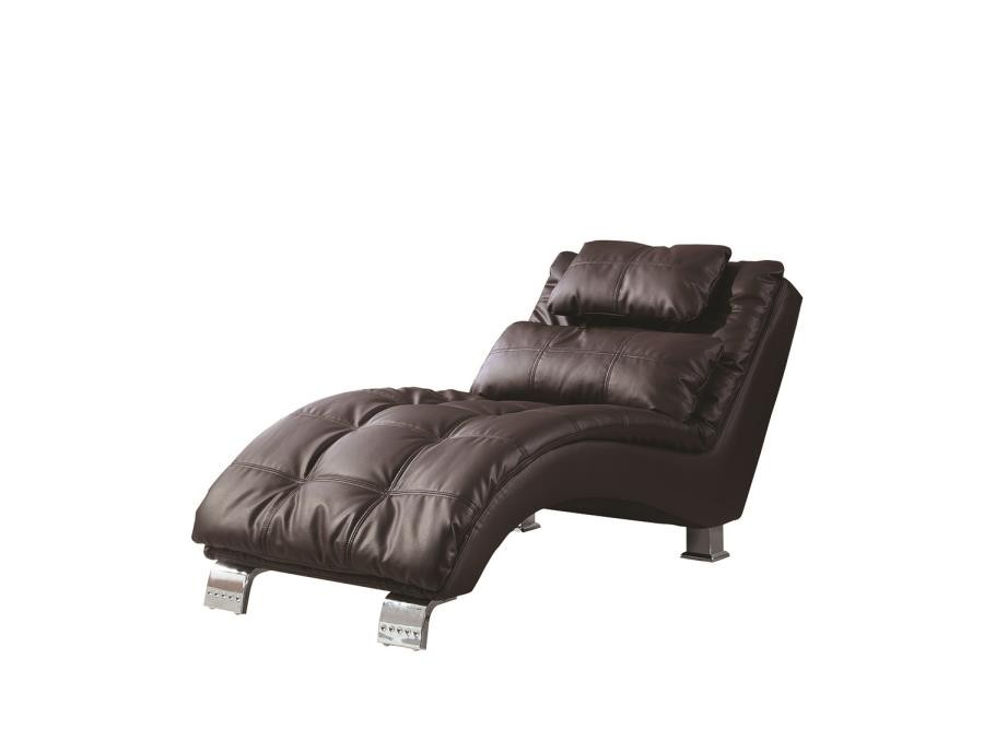 ACCENTS : CHAISES - Contemporary Brown Faux Leather Chaise