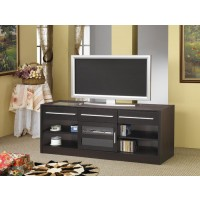 LIVING ROOM : TV CONSOLES - Contemporary Cappuccino TV Console With Connect-It Power Drawer