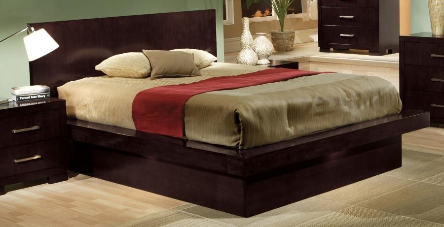 Beau JESSICA COLLECTION   Jessica Dark Cappuccino Queen Platform Bed