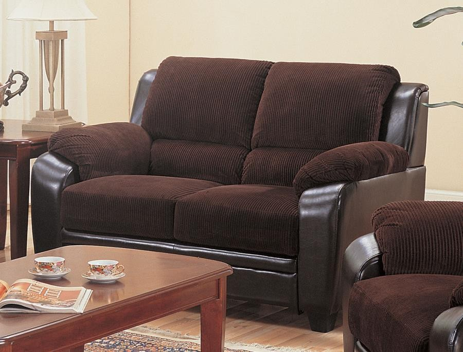 MONIKA COLLECTION - Monika Transitional Chocolate Loveseat
