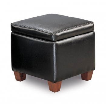 LIVING ROOM: GLASS TOP OCCASIONAL TABLES - Causal Black Storage Ottoman