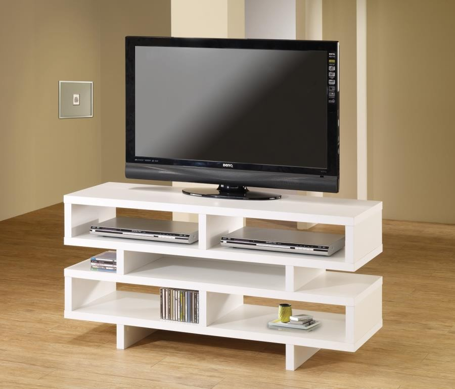 Merveilleux LIVING ROOM : TV CONSOLES   Contemporary White Open Storage TV Console