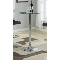 REC ROOM/ BAR TABLES: CHROME/GLASS - Contemporary Chrome Bar Table