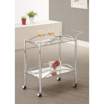 REC ROOM: SERVING CARTS - Traditional Chrome and Glass Serving Cart