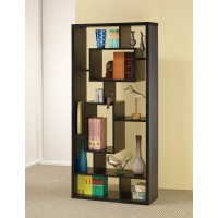 HOME OFFICE : BOOKCASES - Transitional Black Oak Bookcase