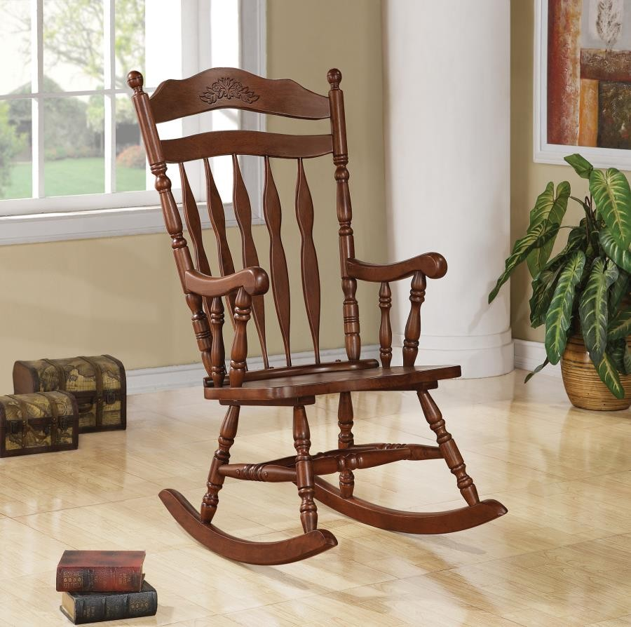 LIVING ROOM: ROCKING CHAIRS - Traditional Medium Brown Rocking Chair