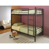 Twin/Twin Bunk Bed - Denley Black Metal Twin-Over-Twin Bunk Bed