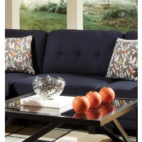 KEATON SECTIONAL - Keaton Transitional Midnight Blue and Black Armless Chair