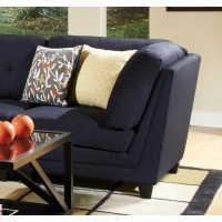KEATON SECTIONAL - Keaton Transitional Midnight Blue and Black Corner Wedge