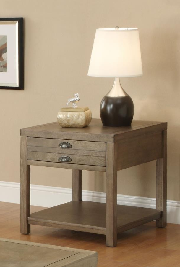 LIVING ROOM : INDUSTRIAL/RUSTIC OCCASIONAL TABLES   Occasional Group Casual Light  Oak End Table
